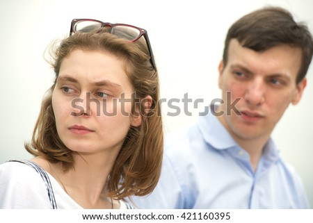 Conflict and misunderstanding between couple of young people - stock photo