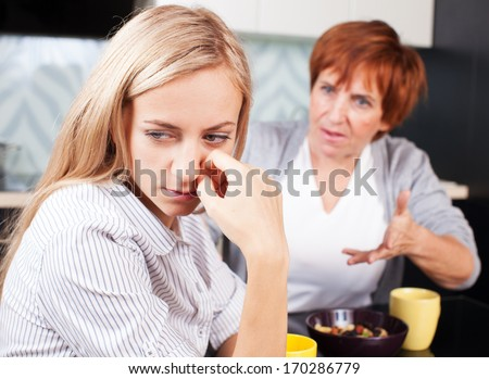 Conflict between mother and daughter. Quarrel - stock photo