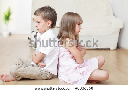 Conflict between the brother and sister - stock photo