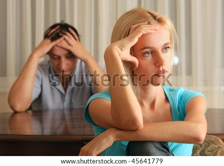 Conflict between the man and the woman - stock photo