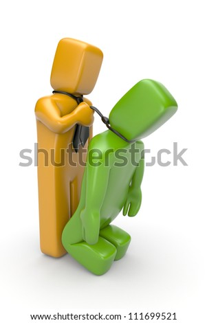 Conflict between two businessmen - stock photo