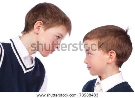 Conflict between two pupils, isolation - stock photo