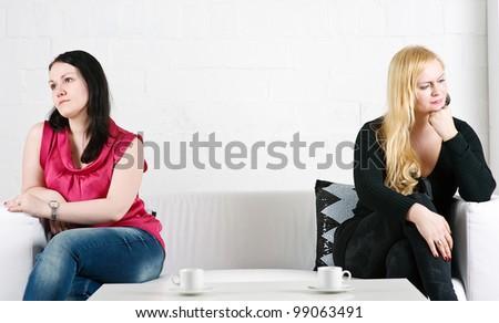 Conflict between two women - stock photo