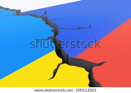 Conflict between Ukraine and Russia. 3d conceptual illustration. - stock photo