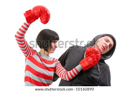 Conflict - Fight between girlfriend and boyfriend isolated against white background - stock photo