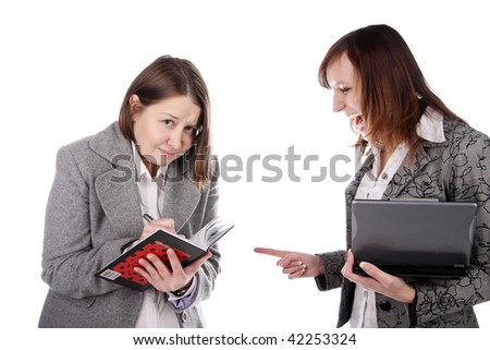 Conflict in office between two workers. Emotional scene. - stock photo