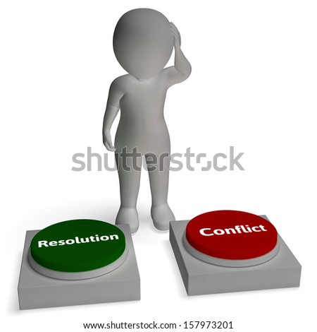Conflict Resolution Buttons Show War Negotiation Or Reconciliation