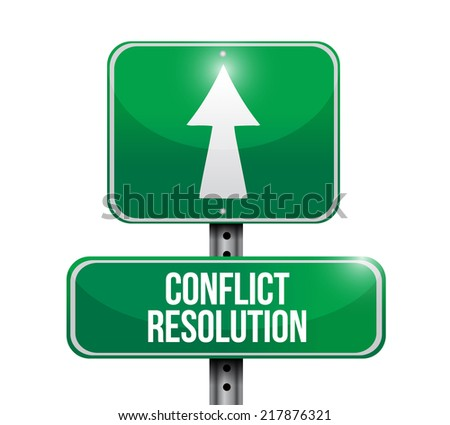 conflict resolution street sign illustration design over a white background - stock photo