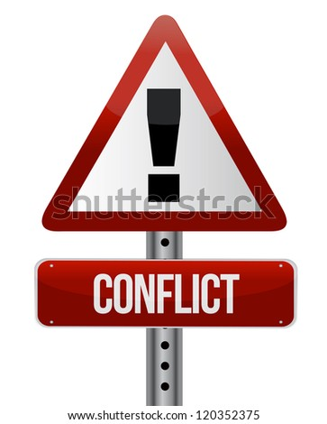conflict warning sign illustration design over white - stock photo