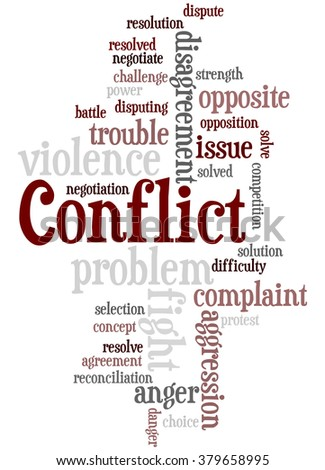 Conflict, word cloud concept on white background.
