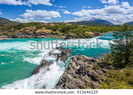 Confluence of Baker river and Neff river, Chile - stock photo