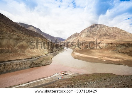 Confluence of Zanskar and Indus rivers in summer - Leh, Ladakh, India