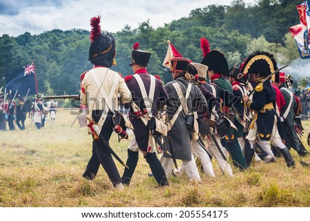 Confrontation at the reenactment of the Battle of Wavre 1815, fought on 18th of June 1815 between the Prussian under the command of General Johann von Thielmann and French army under Marshal Grouchy - stock photo