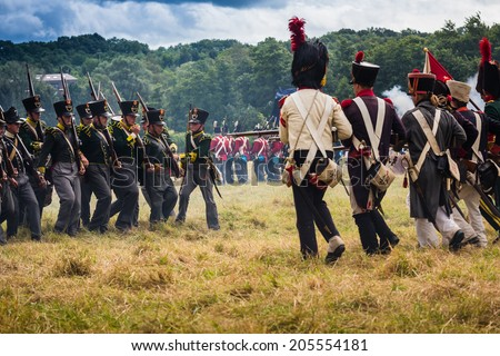 Confrontation at the reenactment of the Battle of Wavre 1815. This blocking action kept 33,000 French soldiers from reaching Waterloo. This battle helped the Allied forces defeat the French army. - stock photo