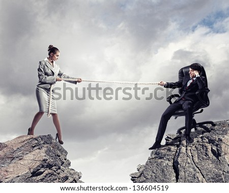 Confrontation between two business people. Abstract collage . - stock photo