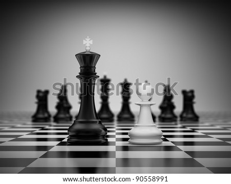 Confrontation king and pawn on chessboard - stock photo