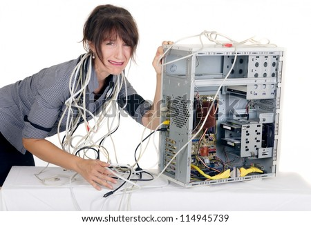 confuse business woman crying with broken computer
