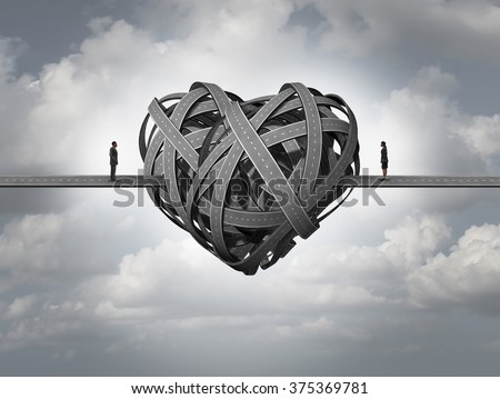 Confused about love concept as in stress in a romantic relationship or divorce issues of a married couple and human relationship requiring counseling and couples therapy. - stock photo