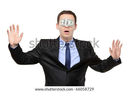 Confused blindfold businessman with a 100 dollar banknote on his eyes isolated on white background - stock photo