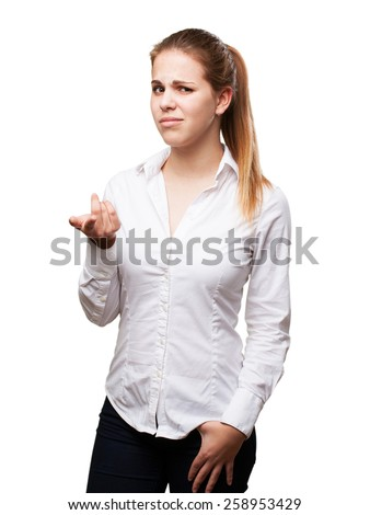 confused blond woman - stock photo