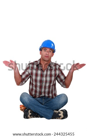 Confused builder - stock photo