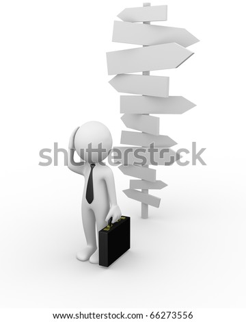 Confused business man - stock photo