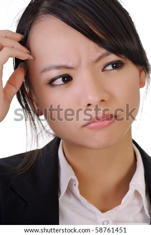 Confused business woman, closeup portrait on white background. - stock photo