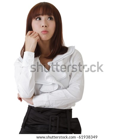Confused business woman, oriental office lady against white. - stock photo