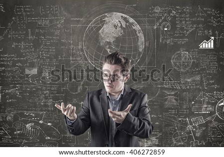 Confused businessman explain math formulas on blackboard - stock photo