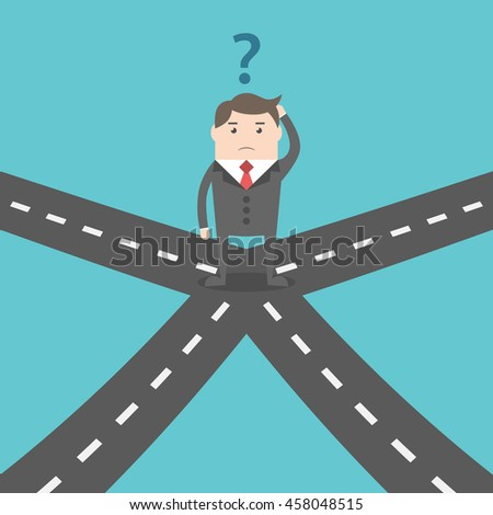 Confused businessman standing on crossroads and choosing way. Choice, opportunity, confusion, career, decision and solution concept - stock photo