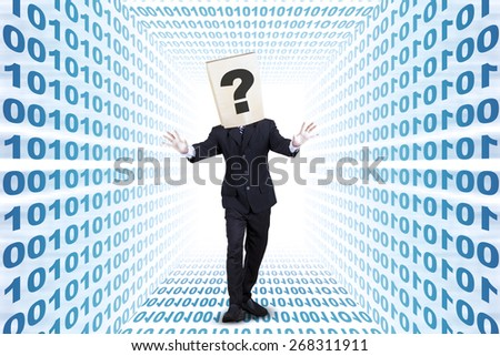 Confused businessman with cardboard head search the way inside the internet network - stock photo
