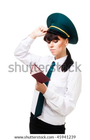 Confused customs worker woman stand with passports