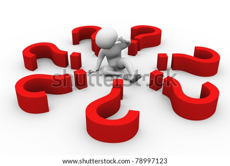 Confused 3d man encircled with question marks. - stock photo