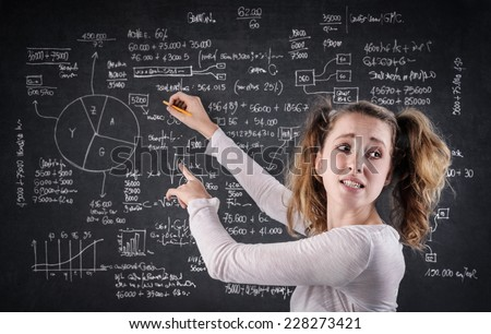 Confused girl writing on a blackboard