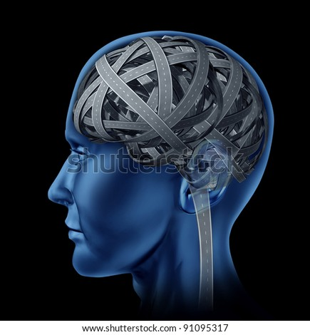 Confused human intelligence with a head and brain in the shape of tangled mixed up roads and highways for mental illness and old age memory loss and cognitive function as a health care issue. - stock photo