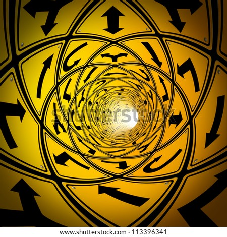 Confused journey and lost in confusion with a tunnel made of multiple yellow road signs as a business and life concept of the challenges in direction to achieve a goal and a strategy. - stock photo
