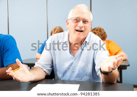 Confused middle-aged student in adult education classes. - stock photo