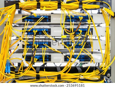 confused of fiber optic panel - stock photo