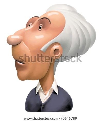 Confused old Man with grey Hair is looking forward. His Eyes are widely opened. Almost crying - stock photo
