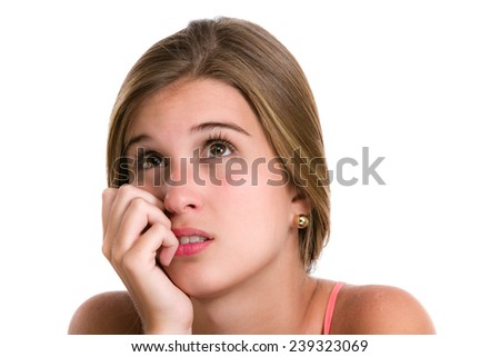 Confused or concern Hispanic Young woman  scratching head with with frustration. Image isolated on white with clipping path.