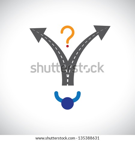 Confused person career choice decision making difficulty graphic. The illustration also represents decision making problems when many options are present in people's career, life, etc - stock photo