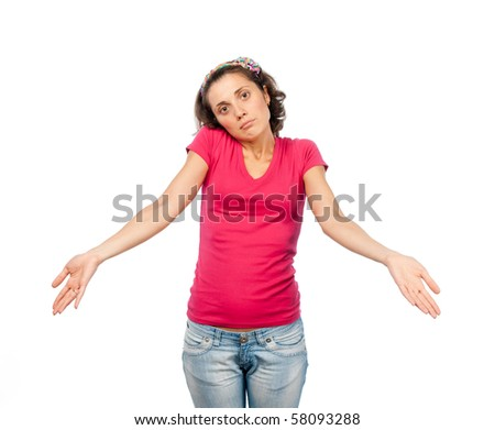 Confused pretty girl - stock photo