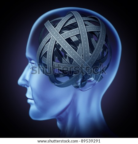 Confused puzzled mind and brain problems symbol featuring a human head with tangled mixed roads and paths as a concept of cognitive illness and memory loss by injury or amnesia and alzheimer - stock photo