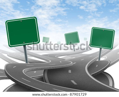 Confused strategy and dilemma with concept of losing control and choosing the right strategic path for business with blank green traffic signs tangled roads and highways in a confused direction.