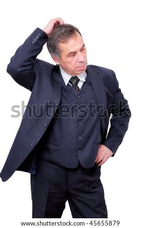 confused thinking senior businessman - stock photo