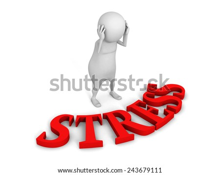 confused white 3d man with red STRESS text word. 3d render illustration - stock photo