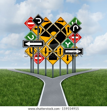 Confusing direction decision questions deciding on a clear strategy in business as a crossroads path to success choosing the right strategic plan challenged by a group of confusing traffic signs. - stock photo