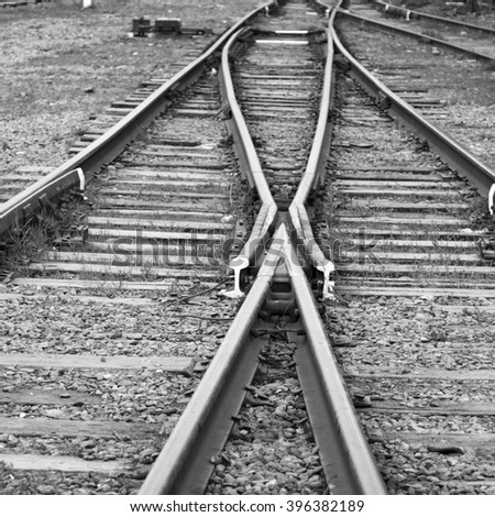 Confusing old railway tracks - stock photo