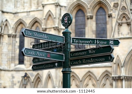 Confusing Street Sign in York, England - stock photo