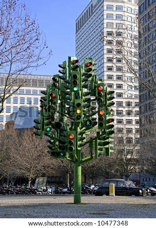 Confusing traffic lights in Canary Wharf, London - stock photo